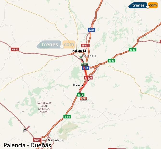 Ingrandisci la mappa Treni Palencia Dueñas