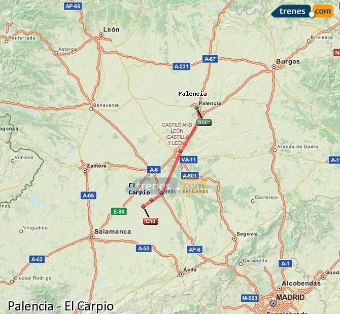 Enlarge map Trains Palencia to El Carpio