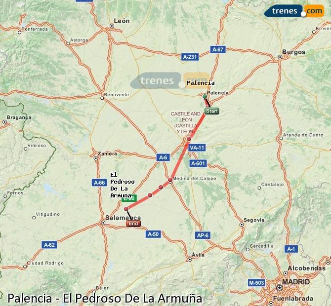 Ampliar mapa Trenes Palencia El Pedroso De La Armuña
