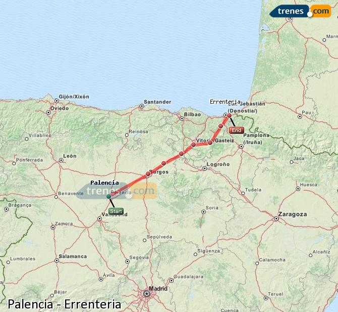 Enlarge map Trains Palencia to Errenteria
