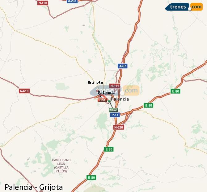 Ingrandisci la mappa Treni Palencia Grijota