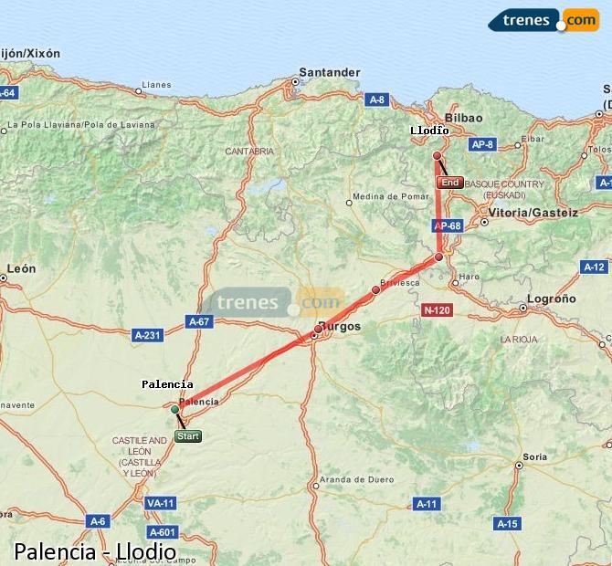 Ampliar mapa Trenes Palencia Llodio
