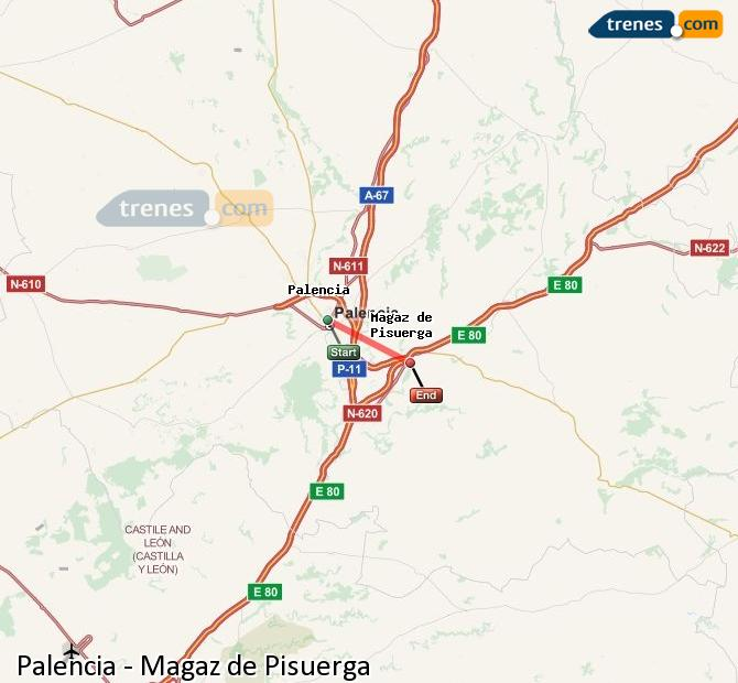 Enlarge map Trains Palencia to Magaz de Pisuerga
