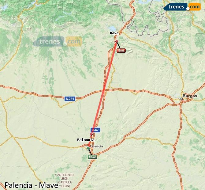 Enlarge map Trains Palencia to Mave