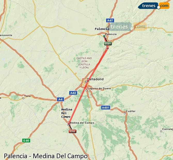 Enlarge map Trains Palencia to Medina Del Campo