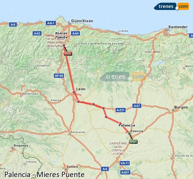 Enlarge map Trains Palencia to Mieres Puente