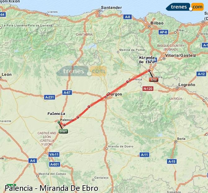 Agrandir la carte Trains Palencia Miranda De Ebro