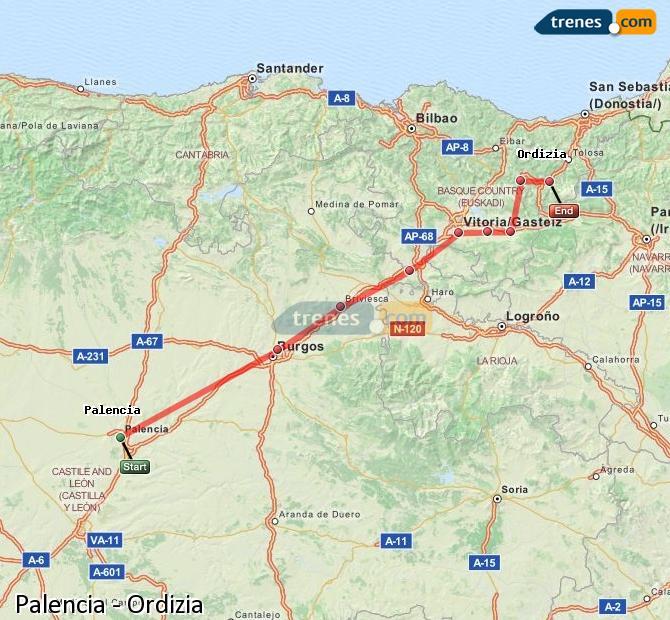 Ingrandisci la mappa Treni Palencia Ordizia