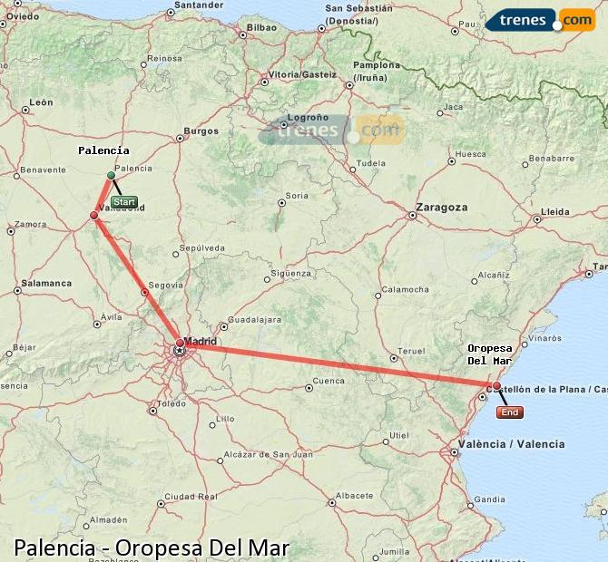 Karte vergrößern Züge Palencia Oropesa Del Mar