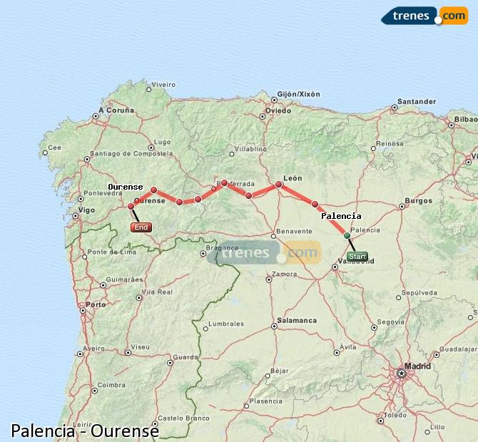 Karte vergrößern Züge Palencia Ourense