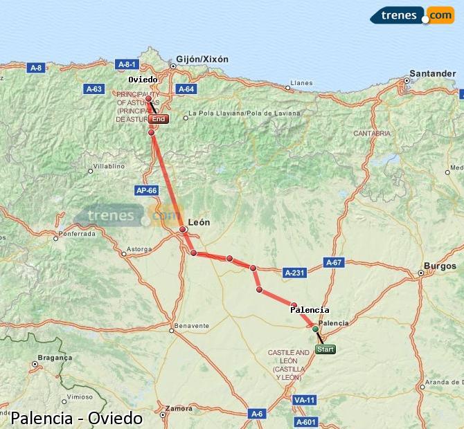 Ingrandisci la mappa Treni Palencia Oviedo