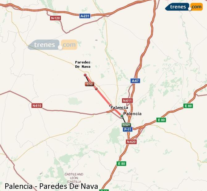 Karte vergrößern Züge Palencia Paredes De Nava