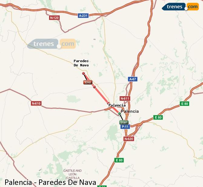 Enlarge map Trains Palencia to Paredes De Nava