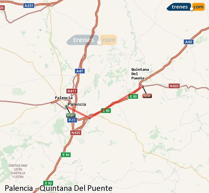 Karte vergrößern Züge Palencia Quintana Del Puente