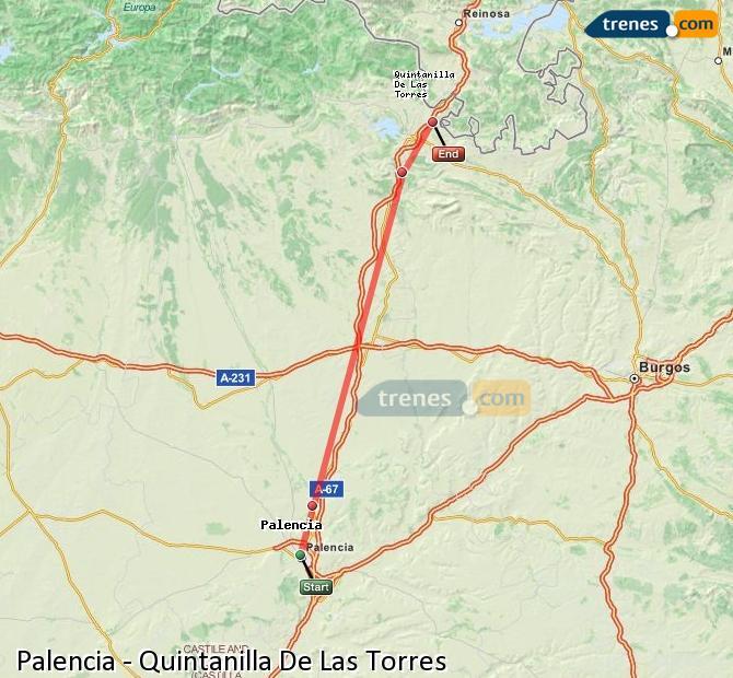 Enlarge map Trains Palencia to Quintanilla De Las Torres