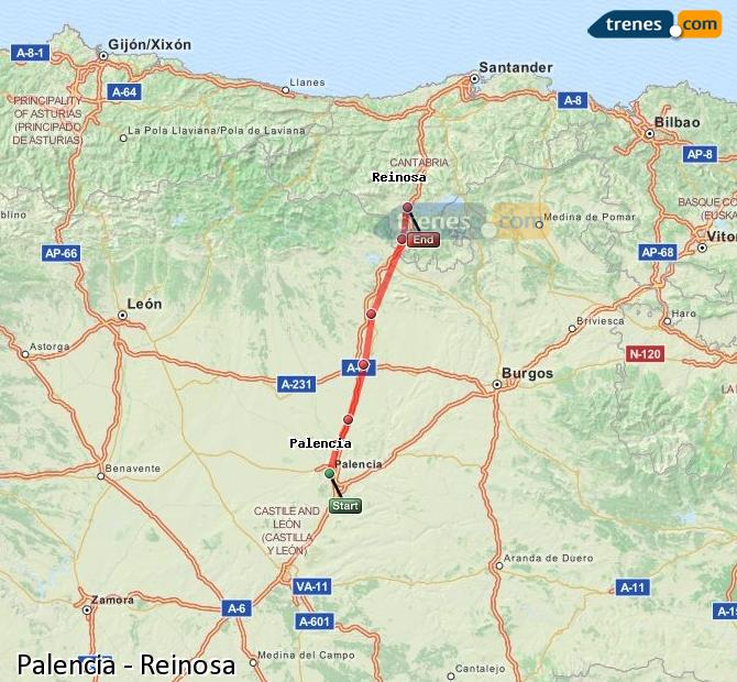 Enlarge map Trains Palencia to Reinosa