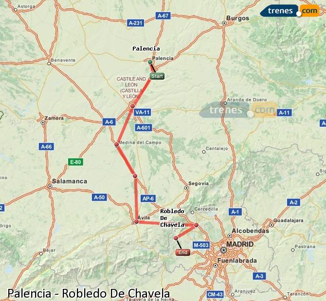 Enlarge map Trains Palencia to Robledo De Chavela