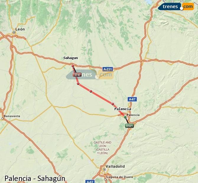 Agrandir la carte Trains Palencia Sahagún