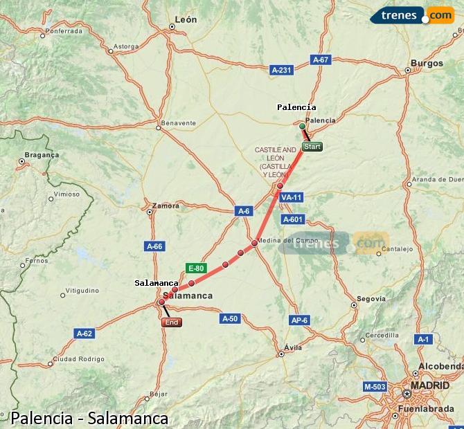 Ampliar mapa Trenes Palencia Salamanca