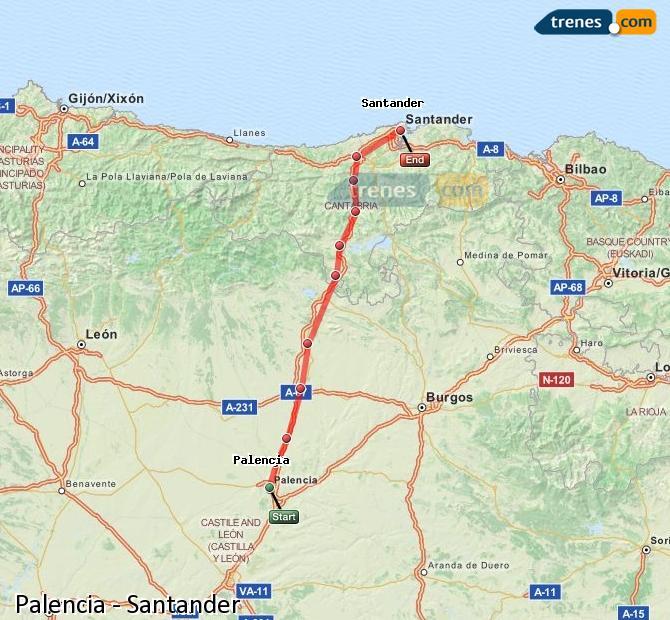 Ampliar mapa Trenes Palencia Santander