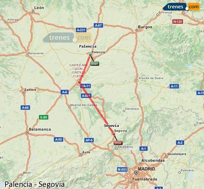 Enlarge map Trains Palencia to Segovia