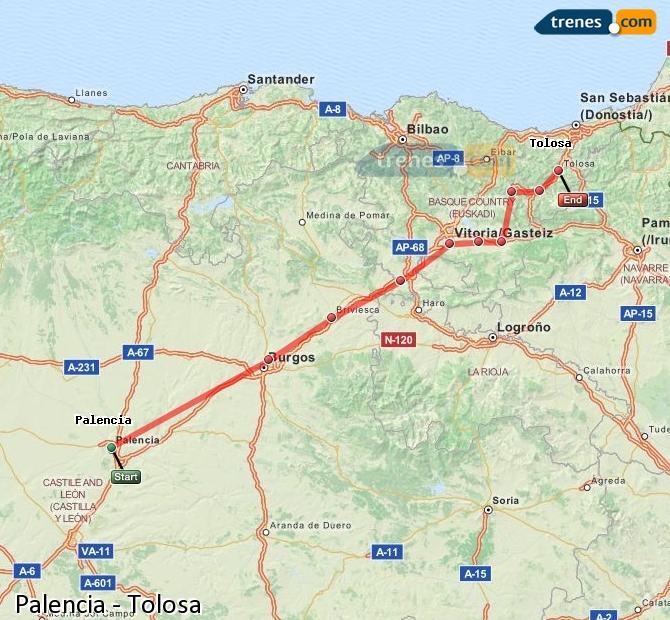 Ingrandisci la mappa Treni Palencia Tolosa