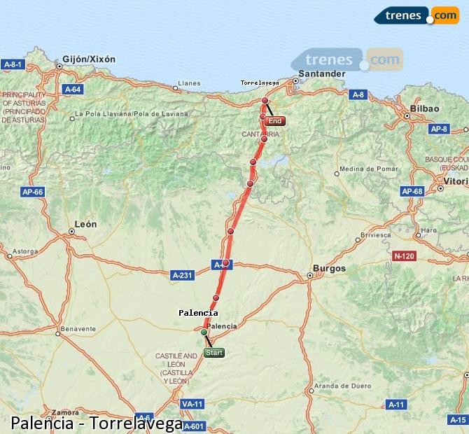 Ingrandisci la mappa Treni Palencia Torrelavega