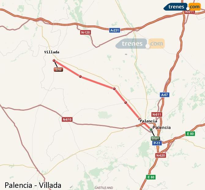 Agrandir la carte Trains Palencia Villada