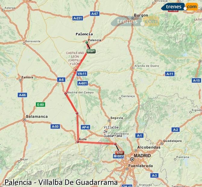 Ingrandisci la mappa Treni Palencia Villalba De Guadarrama