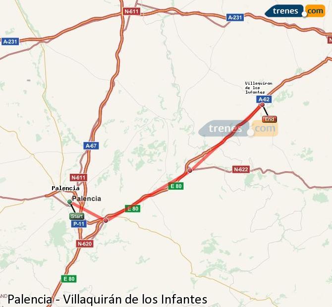 Agrandir la carte Trains Palencia Villaquirán de los Infantes