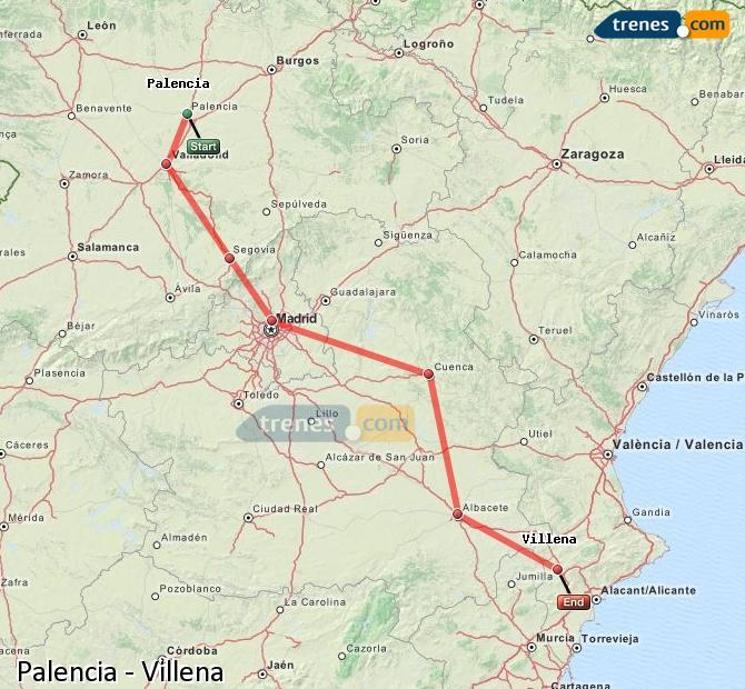 Enlarge map Trains Palencia to Villena