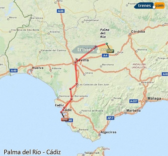 Enlarge map Trains Palma del Río to Cadiz