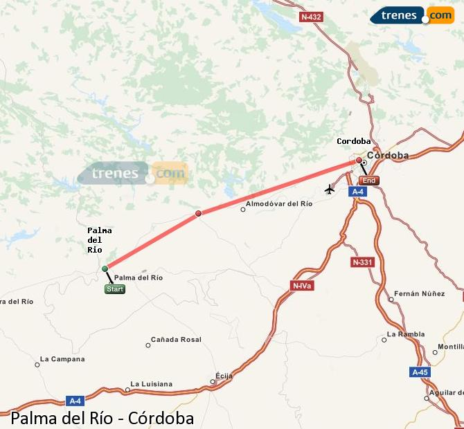 Enlarge map Trains Palma del Río to Córdoba