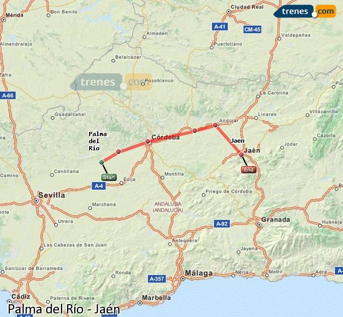 Enlarge map Trains Palma del Río to Jaén
