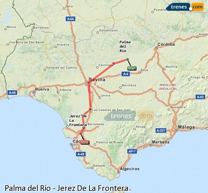 Enlarge map Trains Palma del Río to Jerez De La Frontera