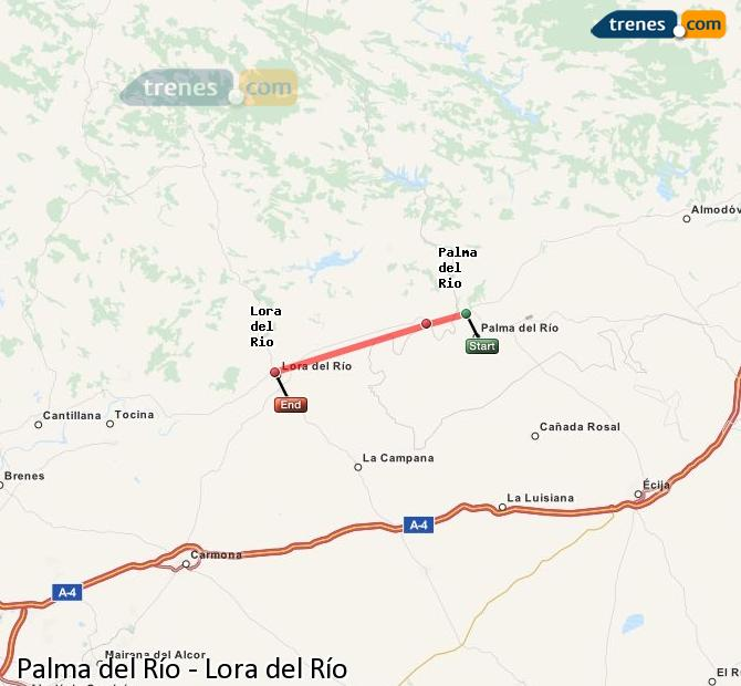 Enlarge map Trains Palma del Río to Lora del Río