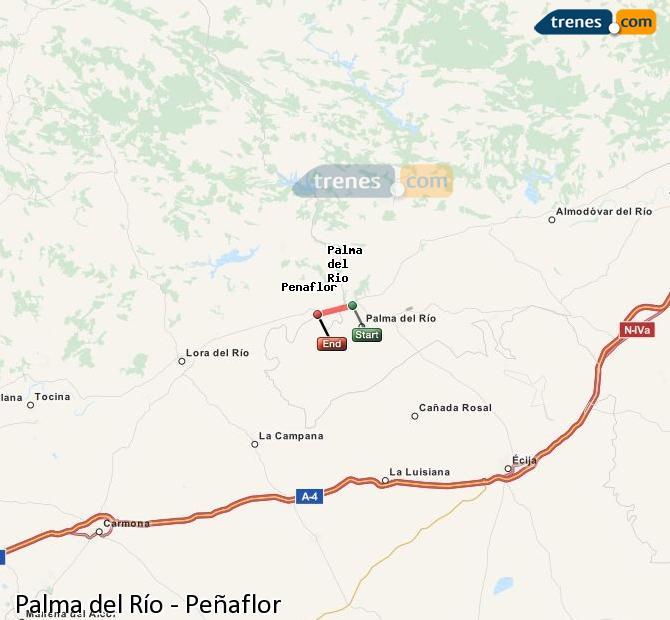Agrandir la carte Trains Palma del Río Peñaflor