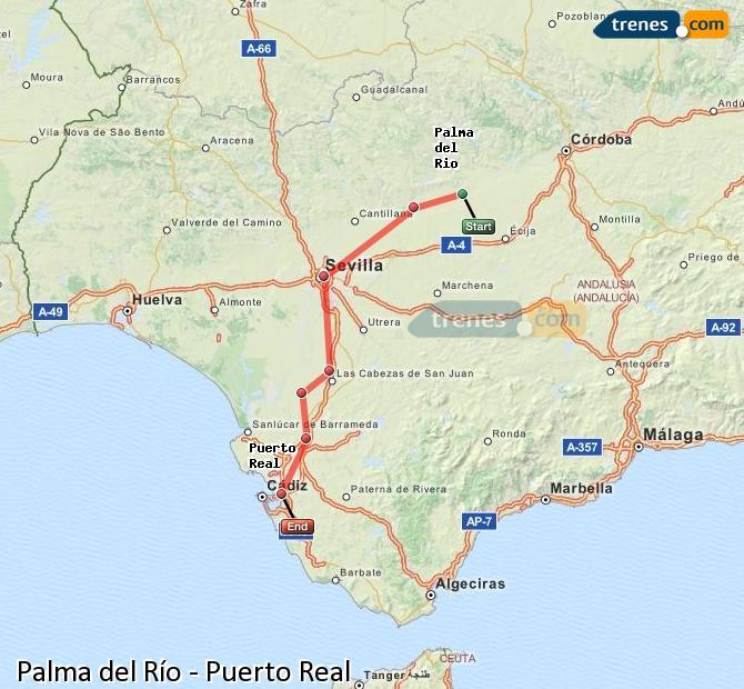 Ingrandisci la mappa Treni Palma del Río Puerto Real