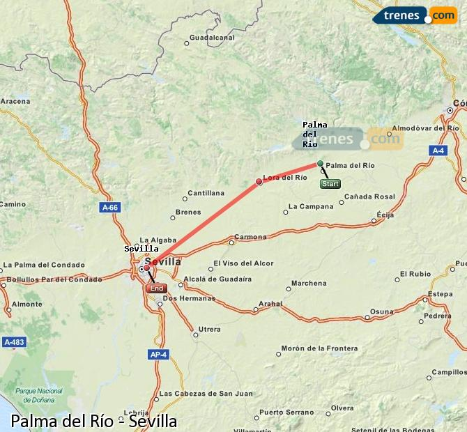 Enlarge map Trains Palma del Río to Seville