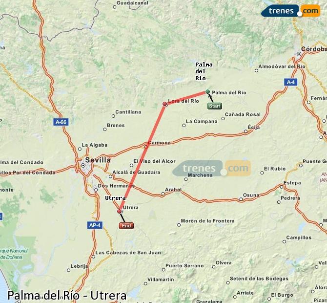 Karte vergrößern Züge Palma del Río Utrera