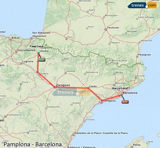 Enlarge map Trains Pamplona to Barcelona