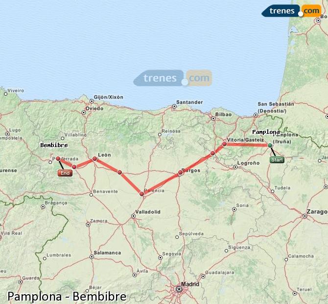 Agrandir la carte Trains Pamplona Bembibre