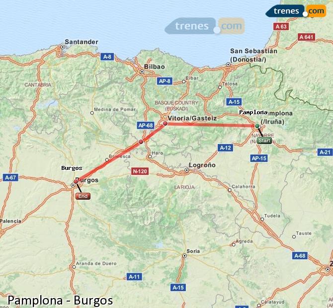 Karte vergrößern Züge Pamplona Burgos