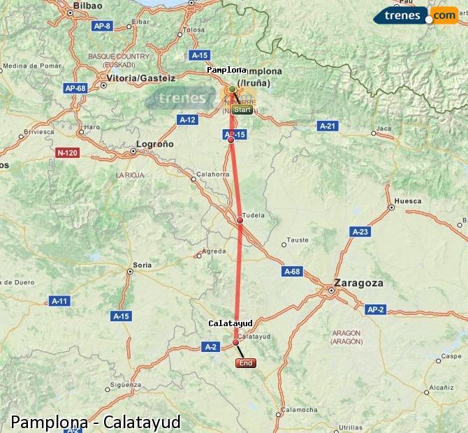 Karte vergrößern Züge Pamplona Calatayud