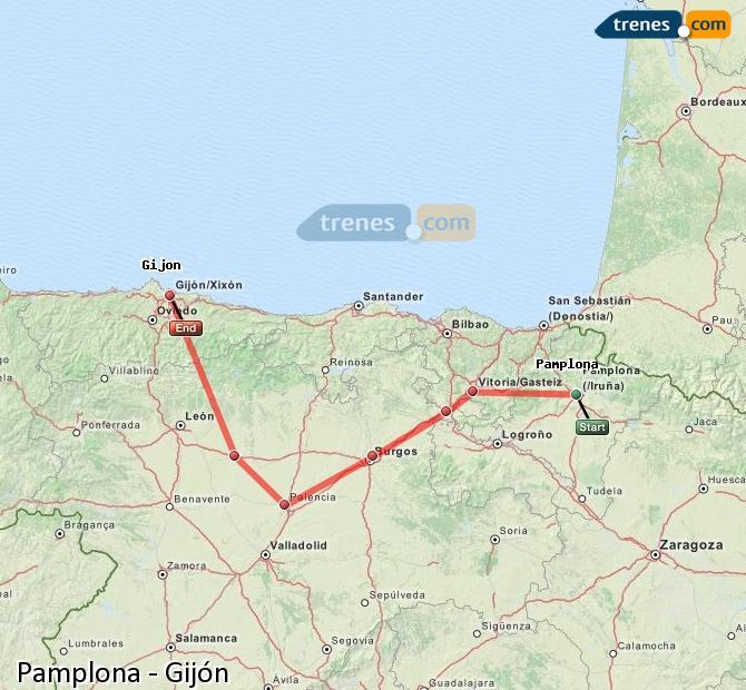 Ingrandisci la mappa Treni Pamplona Gijón