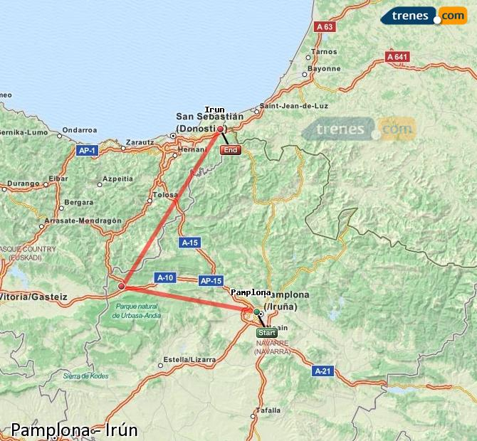 Enlarge map Trains Pamplona to Irun