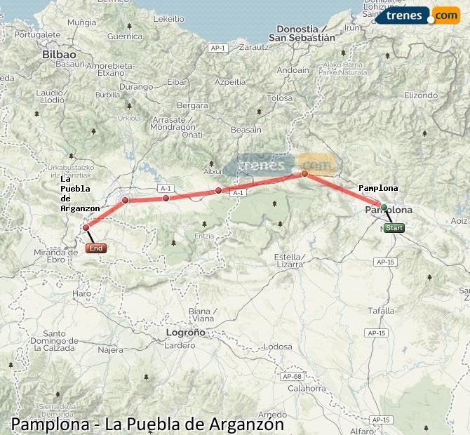 Karte vergrößern Züge Pamplona La Puebla de Arganzón