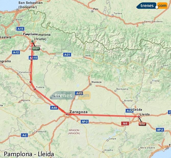 Karte vergrößern Züge Pamplona Lleida