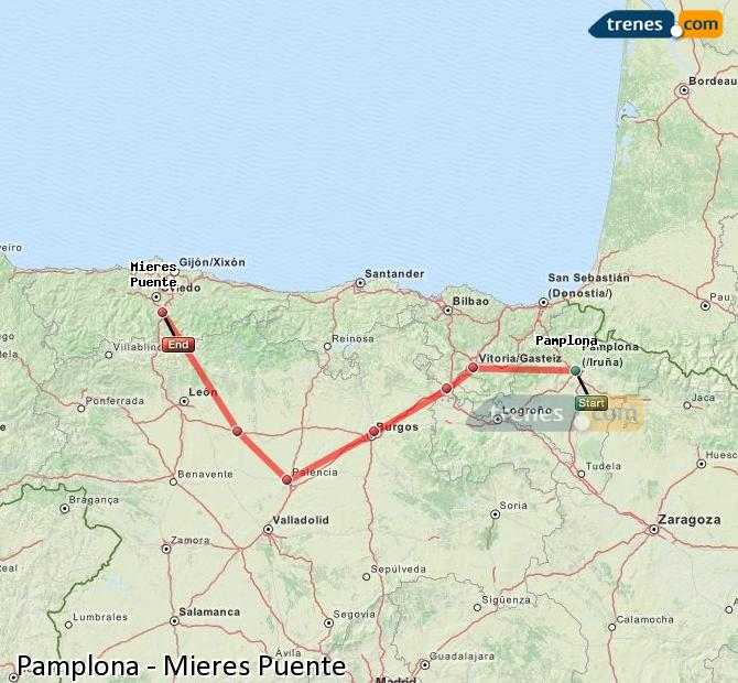 Enlarge map Trains Pamplona to Mieres Puente
