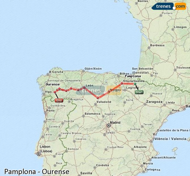 Ampliar mapa Trenes Pamplona Ourense